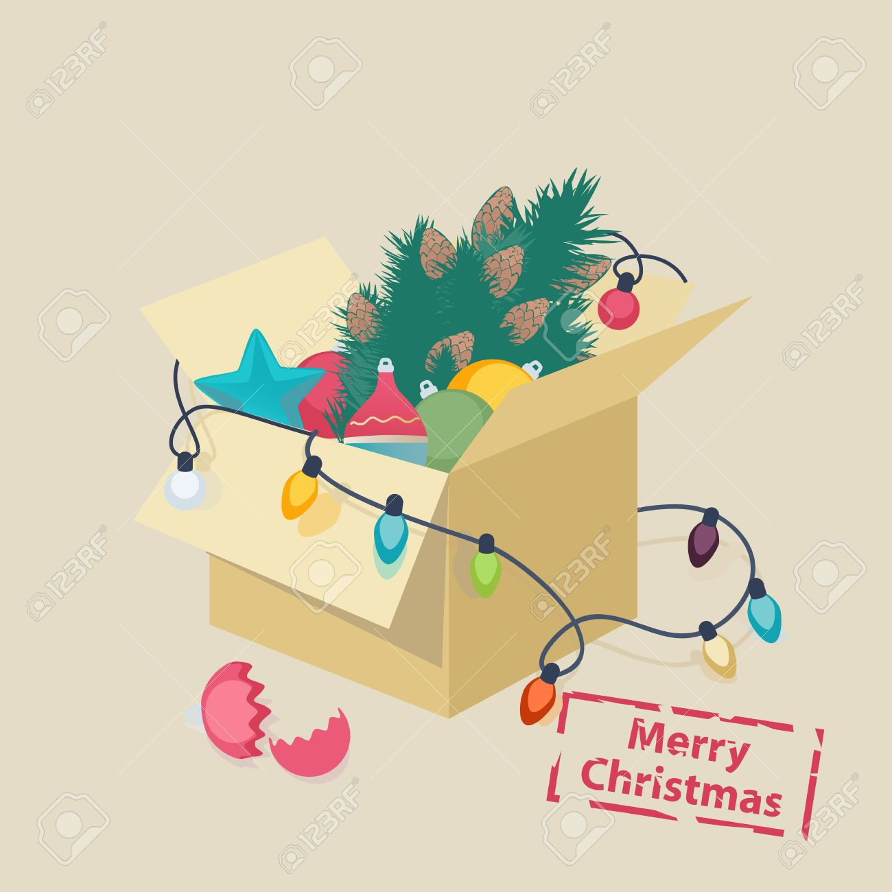 Christmas card design with a box of toys and colorful decorations, lights and a Christmas tree with a broken eggshell in front and the text - Merry Christmas Stock Vector - 31328665
