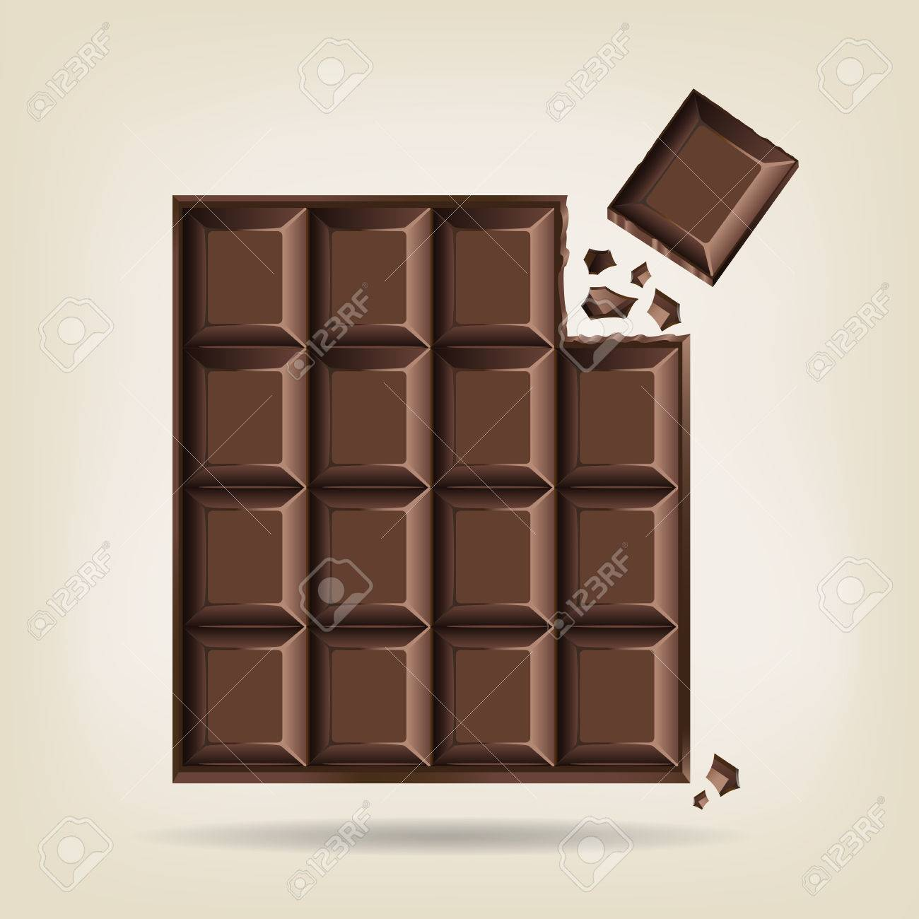 Unwrapped bar of chocolate with one corner square broken off with crumbs, vector illustration Stock Vector - 36806793