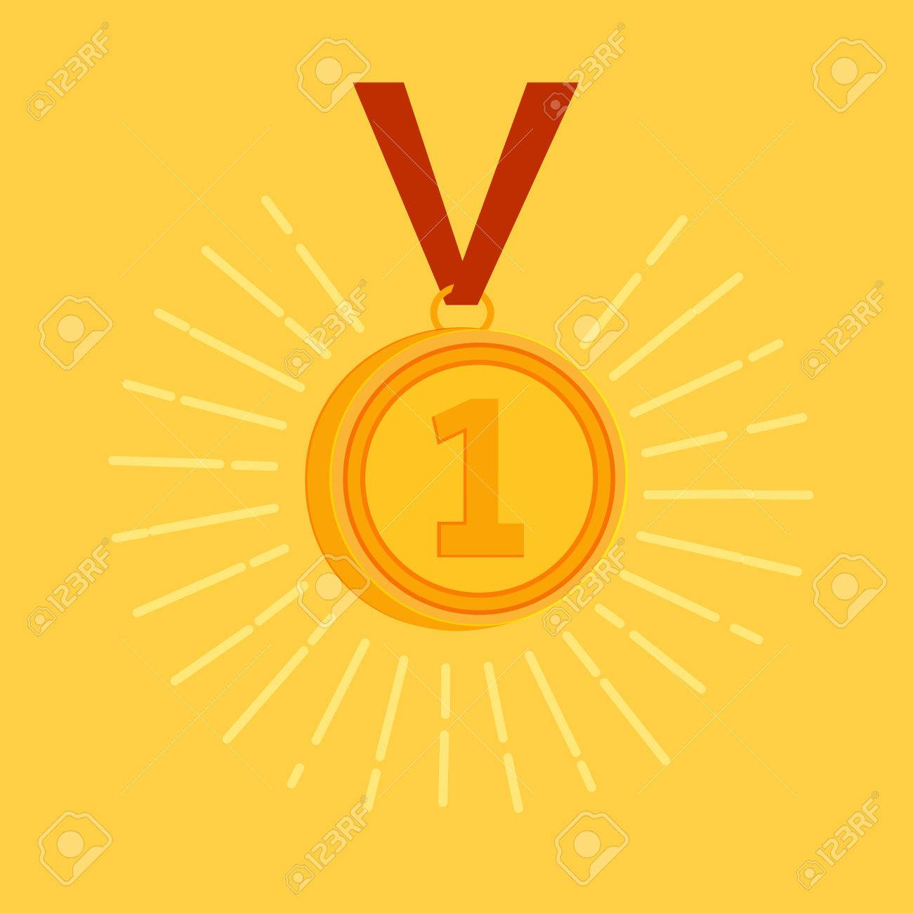Gold Medal Award For The Winner Or Champion With A Sparkling Royalty Free Cliparts Vectors And Stock Illustration Image 38773159