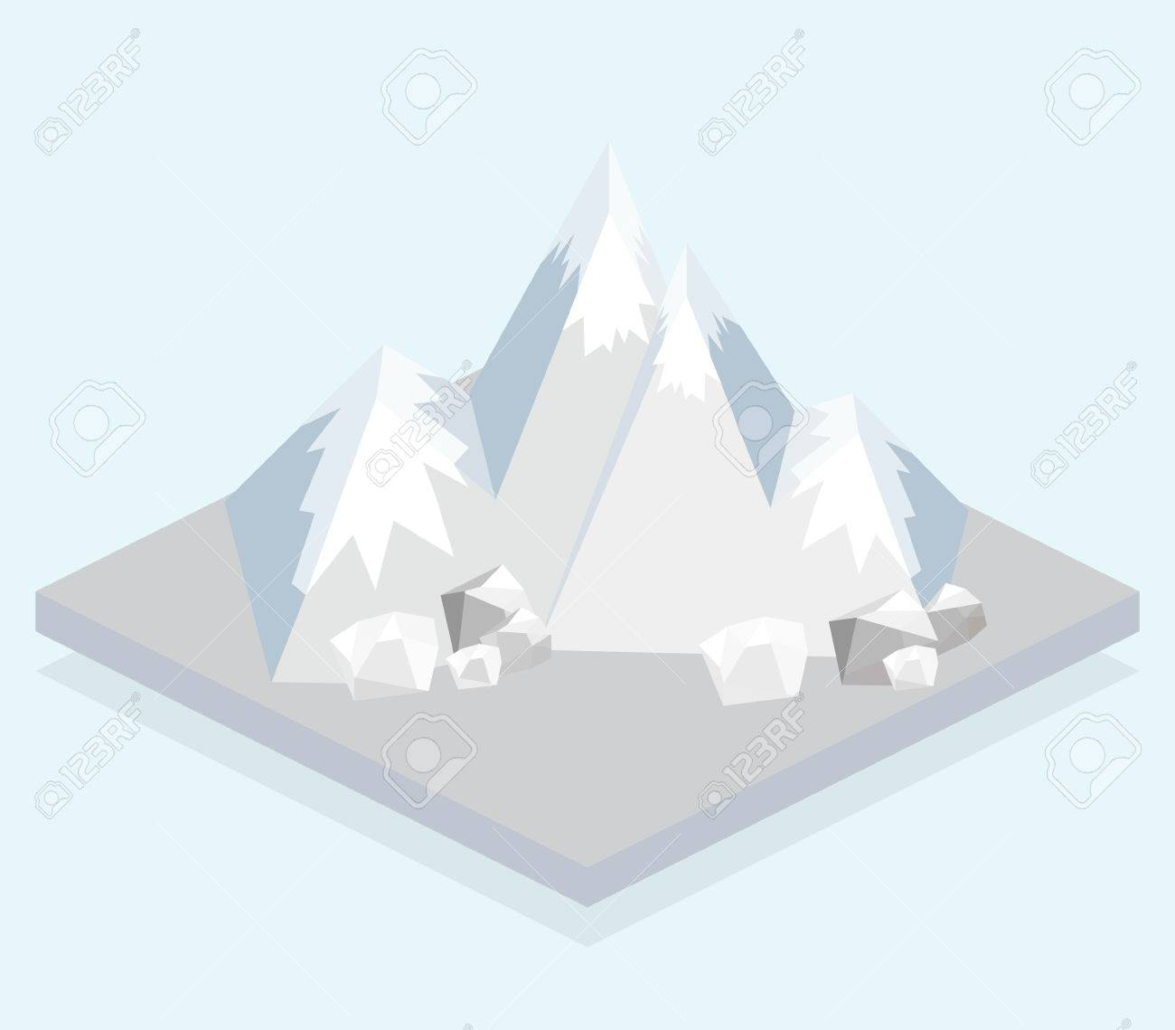 Ski Mountain. Isometric view. Fun cartoon map elements. Stock Vector - 41586781