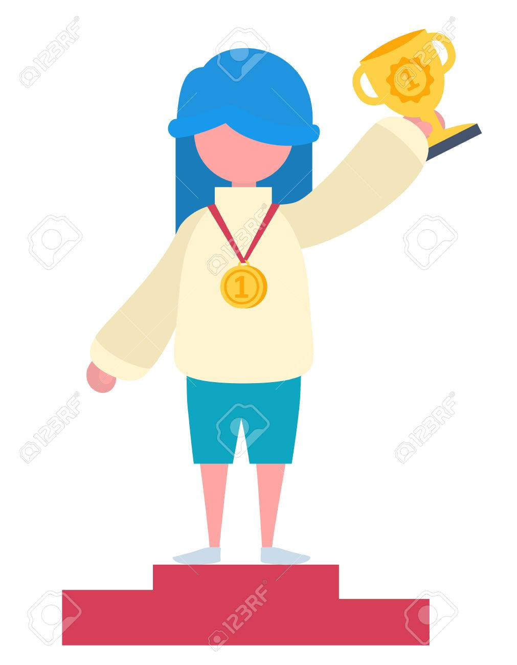 A girl with blue hair winning a cup and a gold medal Stock Vector - 44592904