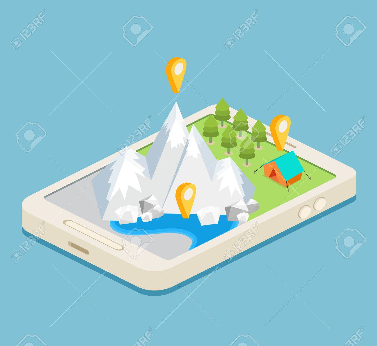 An isometric mobile map showing mountains, a forest and a campsite Stock Vector - 44592906