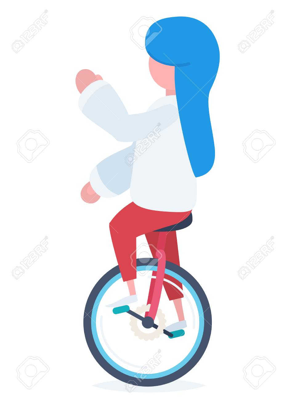 A girl with blue hair riding a colorful unicycle and looking to the left Stock Vector - 44592907