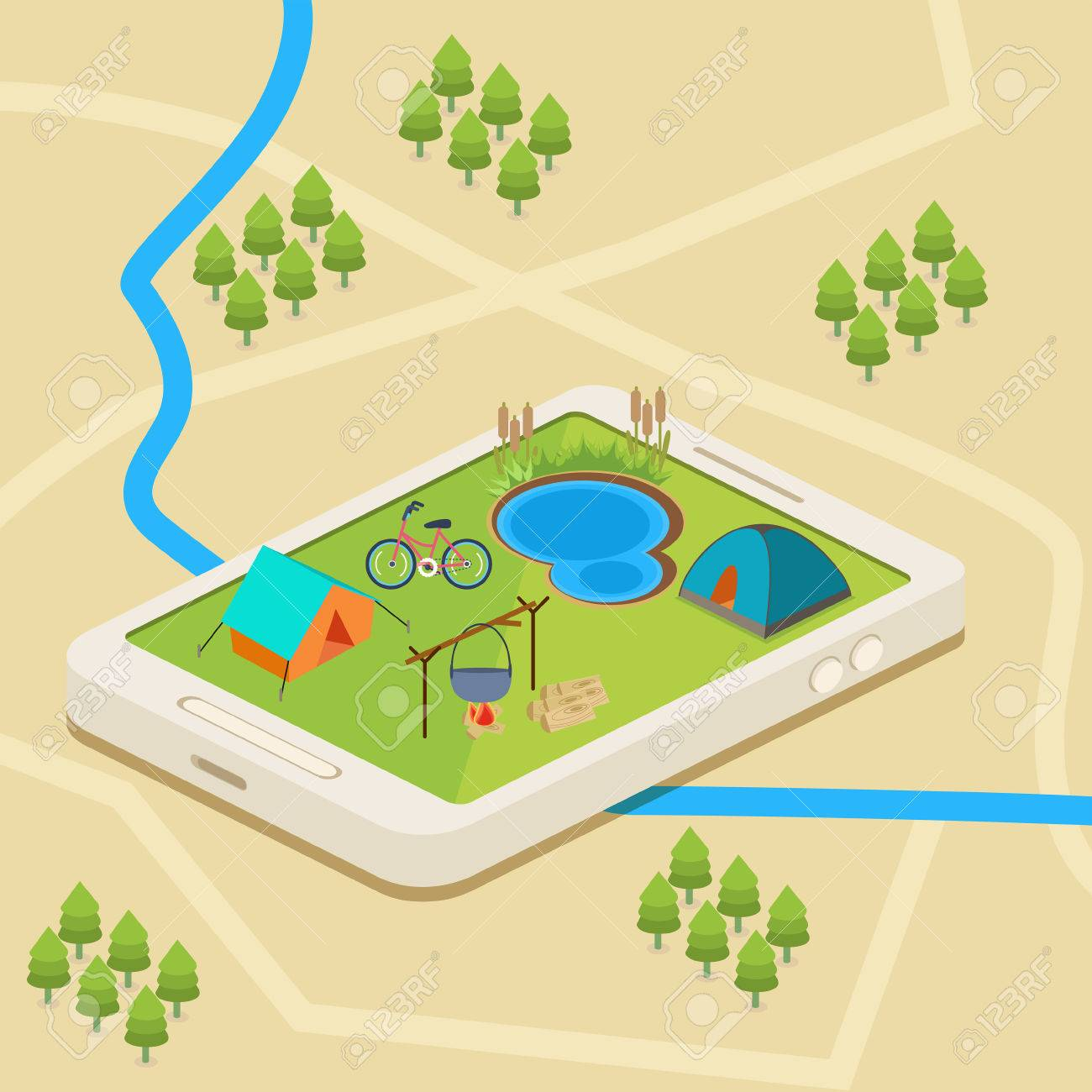 An isometric mobile map showing a campsite with a river and a lake Stock Vector - 44592908