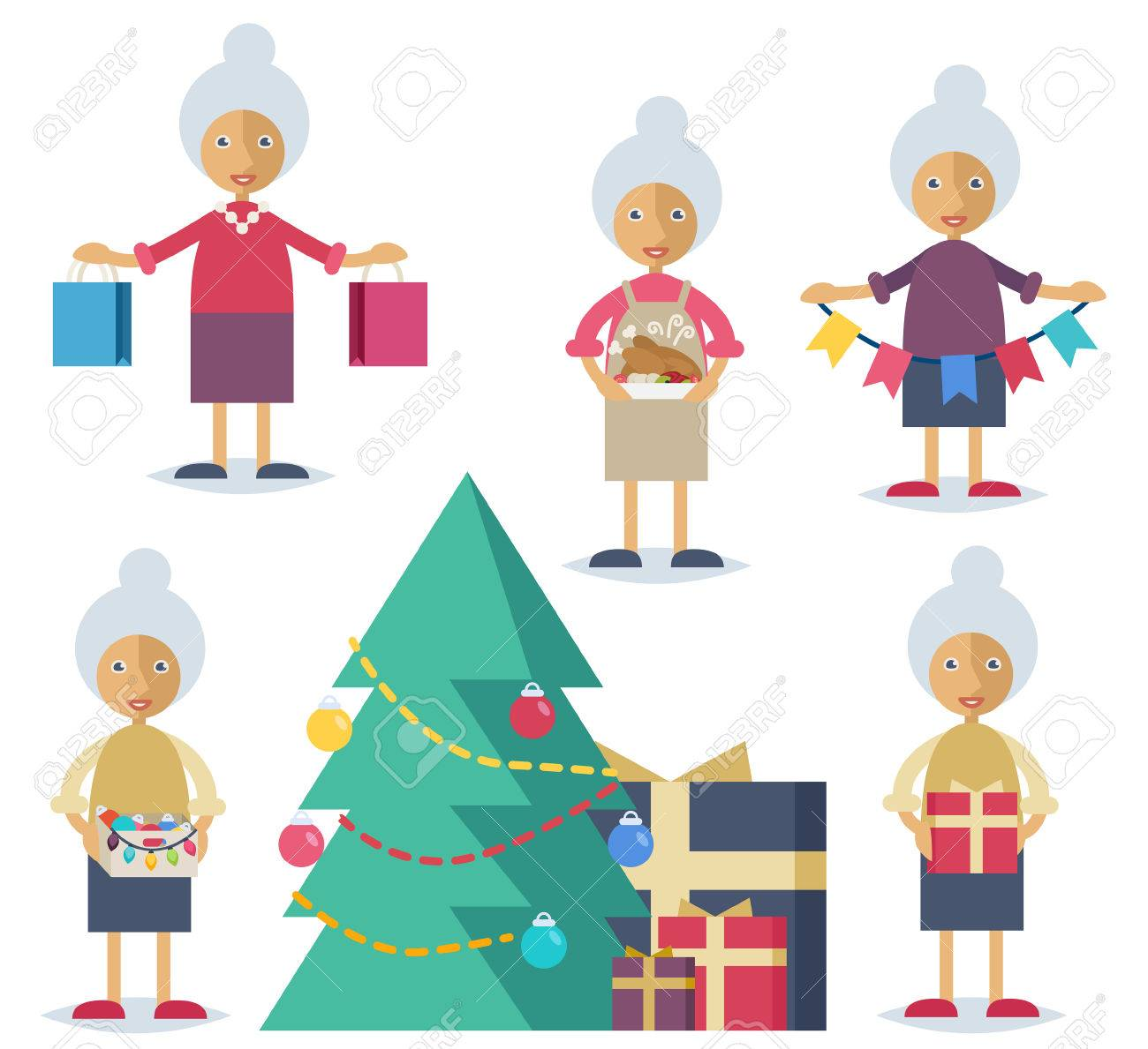 Set of characters in flat stile. An old woman shopping, cooking turkey, decorating the Christmas tree and preparing presents Stock Vector - 44592940