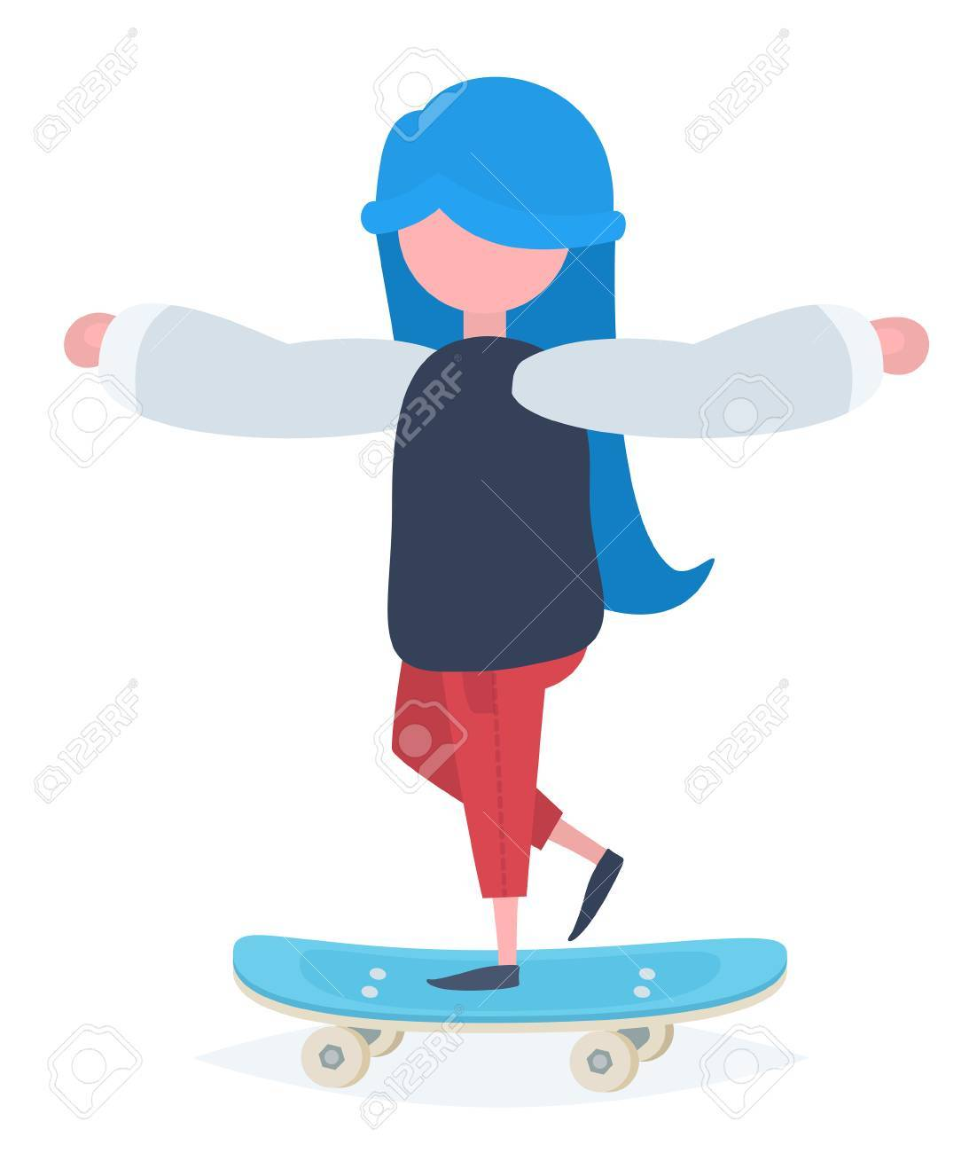 A girl with blue hair standing on a skateboard Stock Vector - 44592957