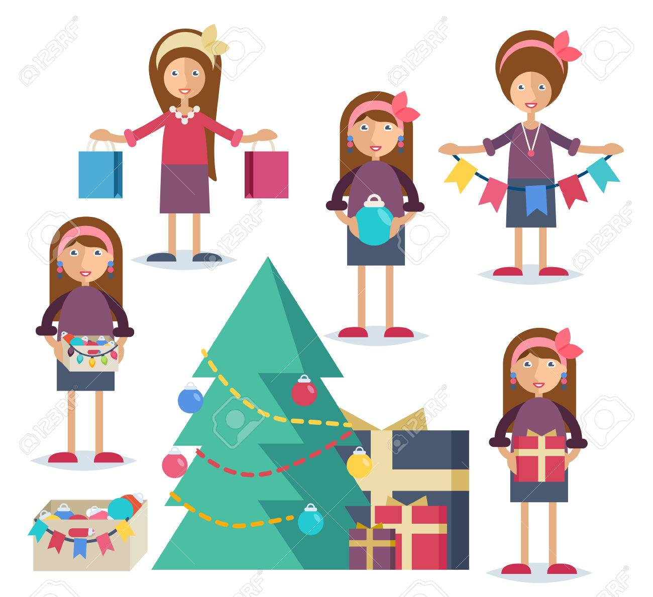 Set of characters in flat stile. An young woman shopping, cooking turkey, decorating the Christmas tree and preparing gifts Stock Vector - 44592958
