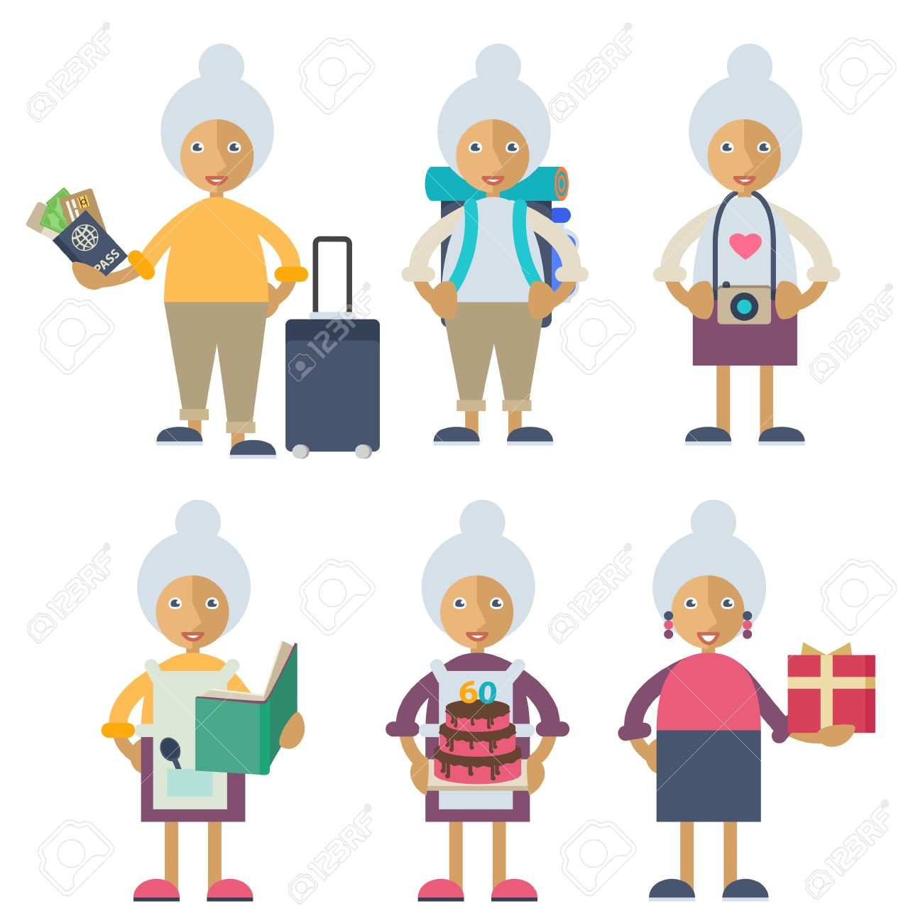 An old woman preparing for a trip, taking photos, cooking, celebrating her birthday and preparing a present Stock Vector - 44592968