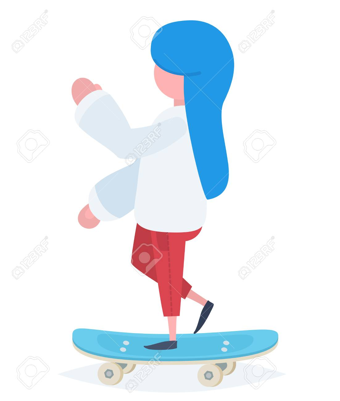 A girl with blue hair standing on a skateboard Stock Vector - 44593267