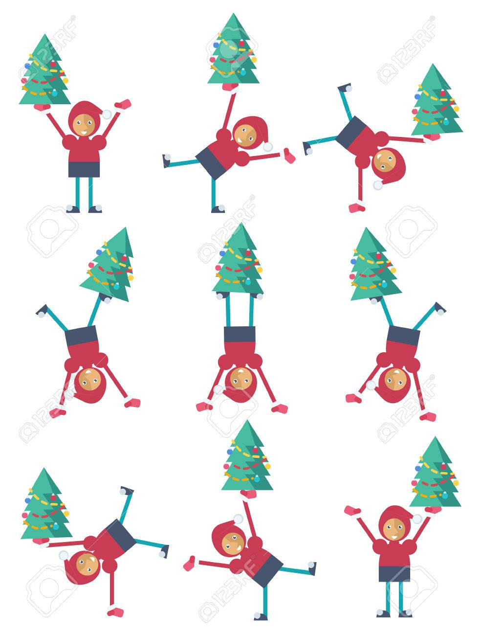 A funny Christmas elf doing a somersault with a Christmas tree Stock Vector - 44593276
