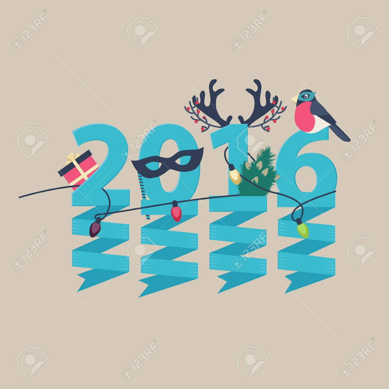 2016 New Year greeting card design with party streamers hanging from blue numerals decorated with Christmas lights, a gift, robin, tree and antlers Stock Vector - 48104774