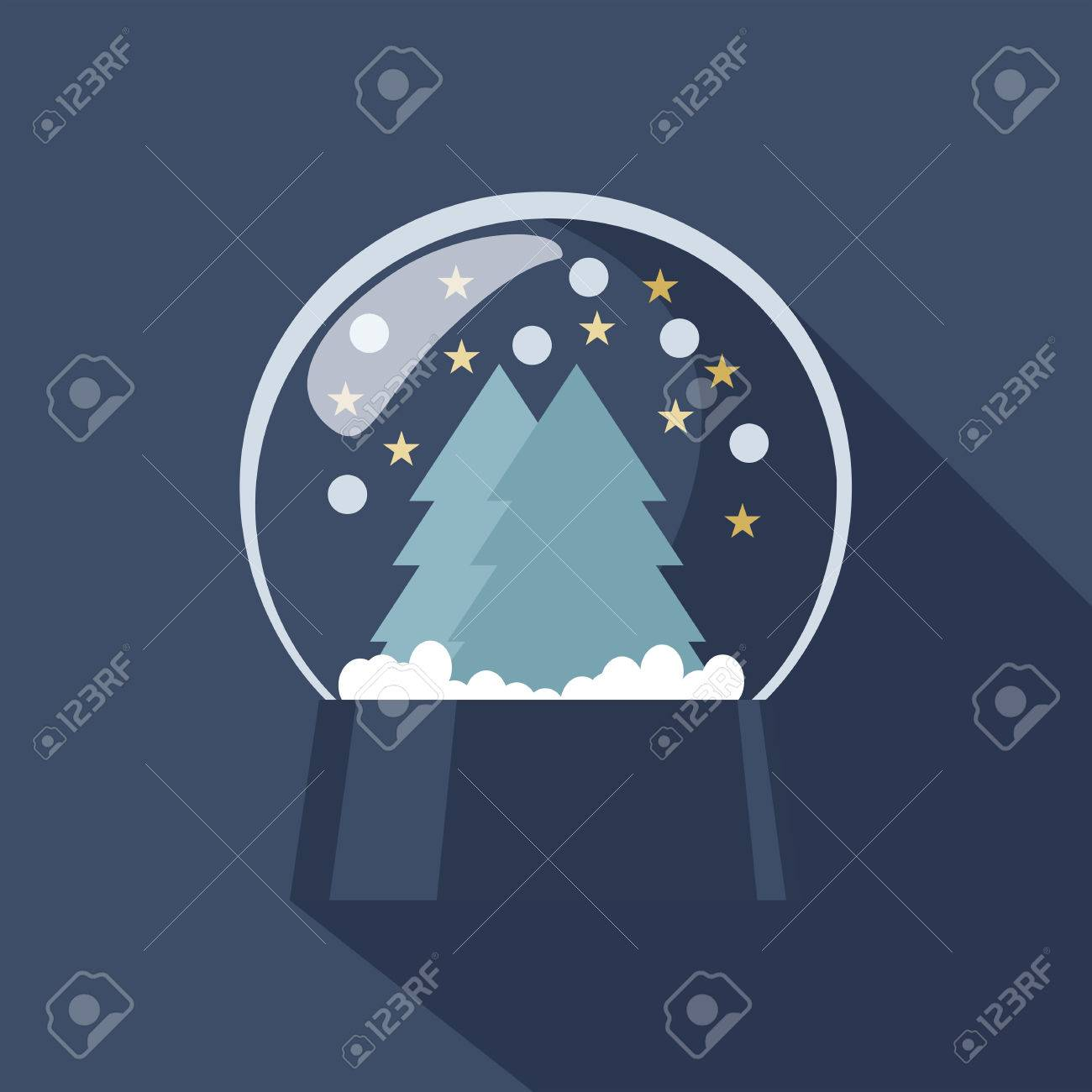 Spherical Snow Globe icon depicting Christmas and New Year with sparkling snowflakes suspended above forest trees on a cold blue winter background Stock Vector - 48104779