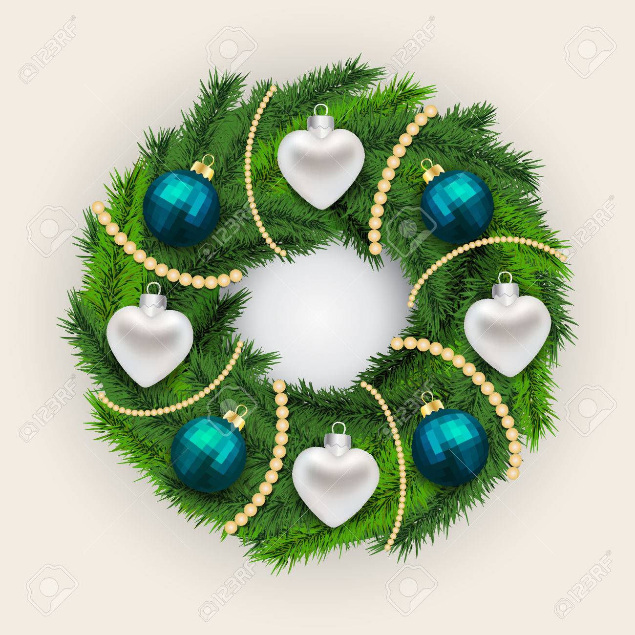 Decorated Christmas pine wreath with alternating silver hearts and blue baubles interspersed with white beads on a grey background, vector illustration Stock Vector - 48104781