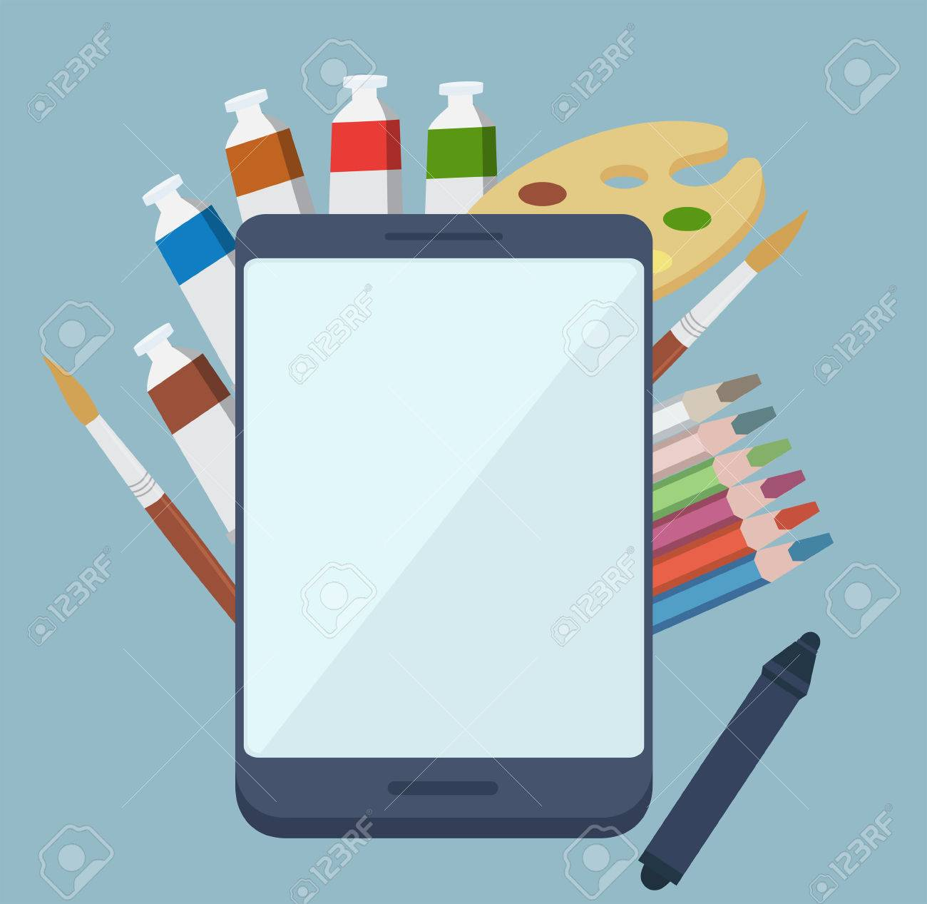 Digital painting app concept with colorful tubes of paint, paintbrushes and a wooden artists palette surrounding a tablet-pc with a blank white screen and copyspace, vector illustration Stock Vector - 48104805