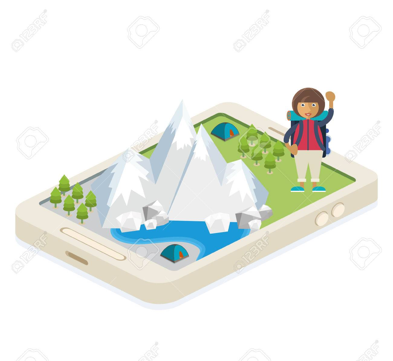 A mobile app with a map of traveling and camping Stock Vector - 48104804