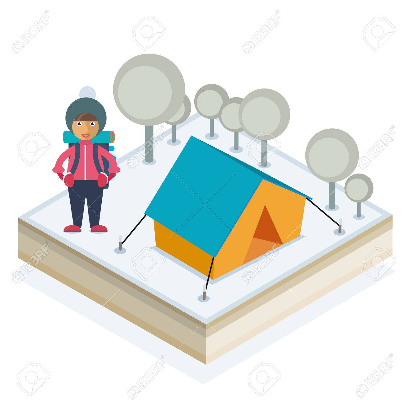 A girl with a backpack and a tent in a winter forest Stock Vector - 48104806