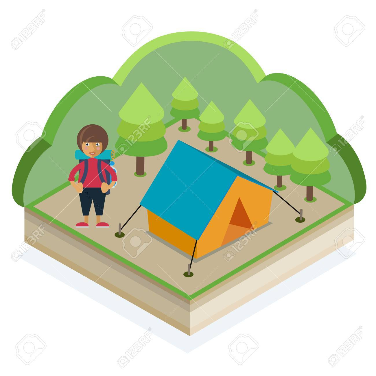 A girl with a backpack and a tent in a summer forest Stock Vector - 48104828