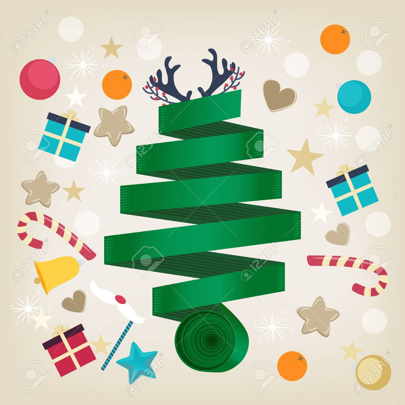Twirled green ribbon Christmas tree card design topped with reindeer antlers and surrounded by Xmas icons of candy, gifts, oranges, hearts, stars, snowflakes and a bell in square format Stock Vector - 48104836