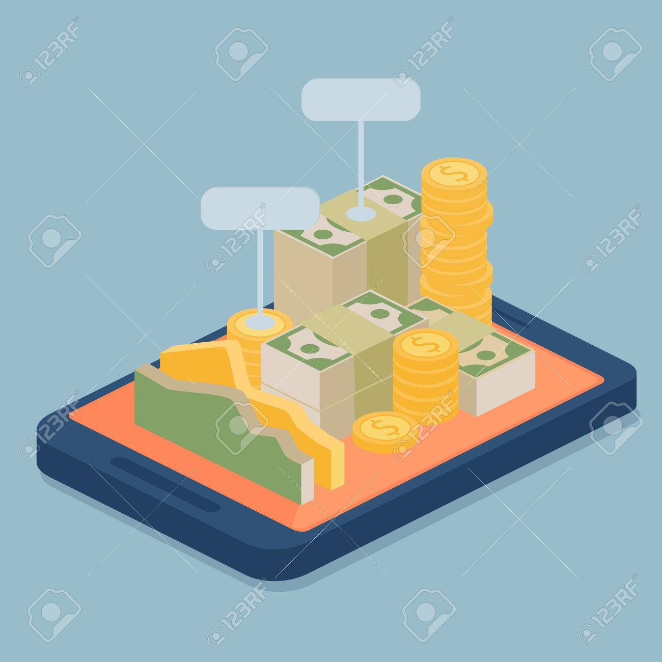 Mobile e-bank with currency in the form of gold coins and packaged stacks of banknotes with blank signs piled on the screen of a mobile device, vector illustration Stock Vector - 48104837