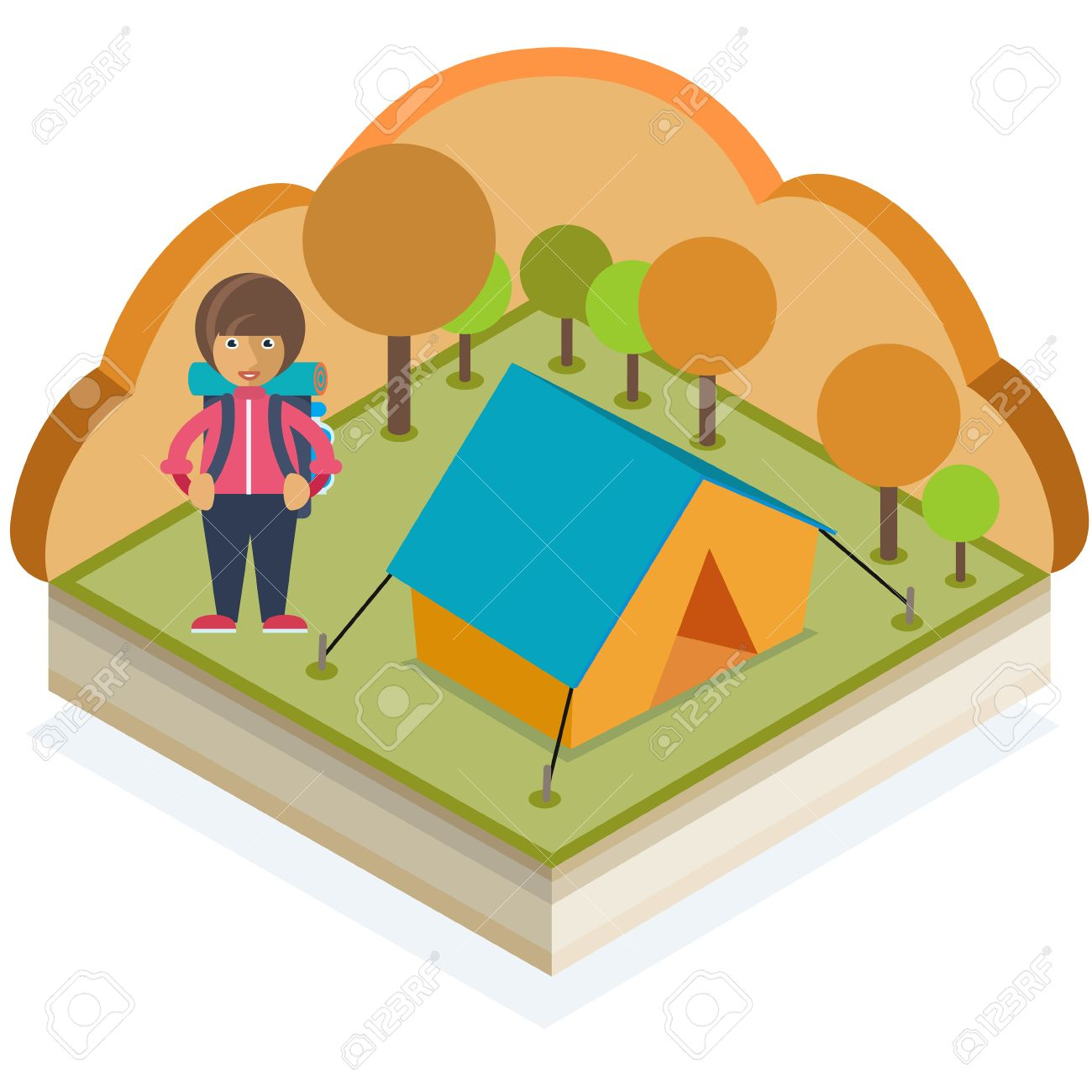 A girl with a backpack and a tent in an autumn forest Stock Vector - 48104834