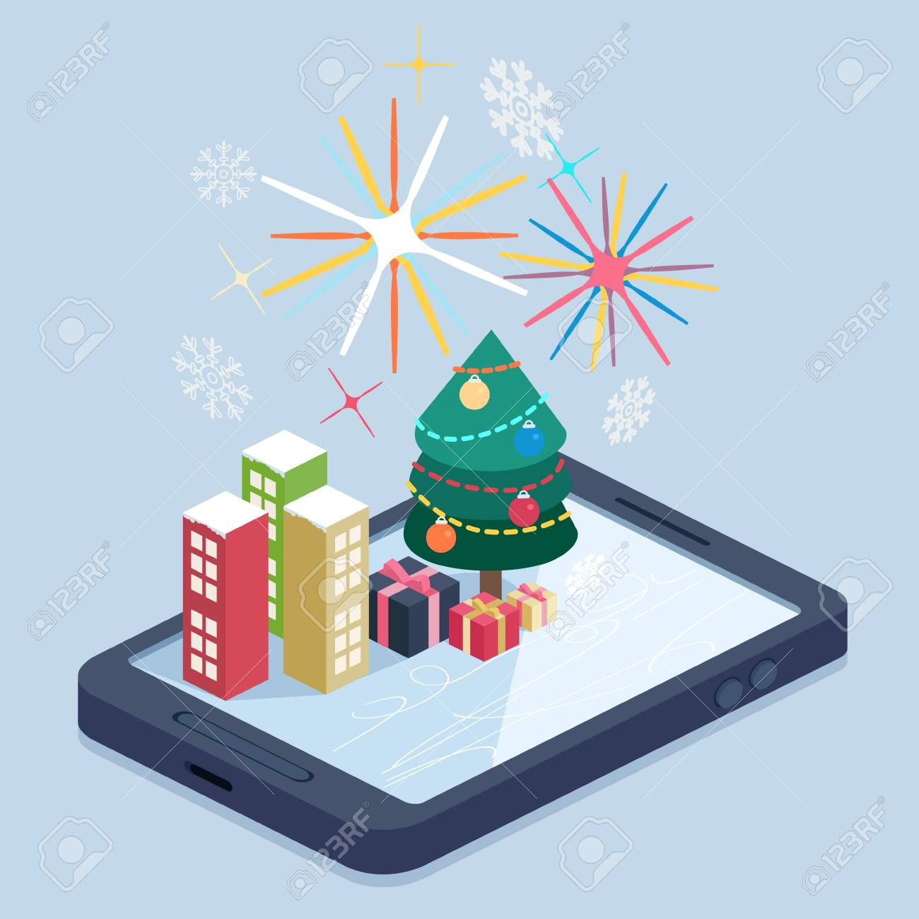 A mobile with a Christmas map Stock Vector - 48104900