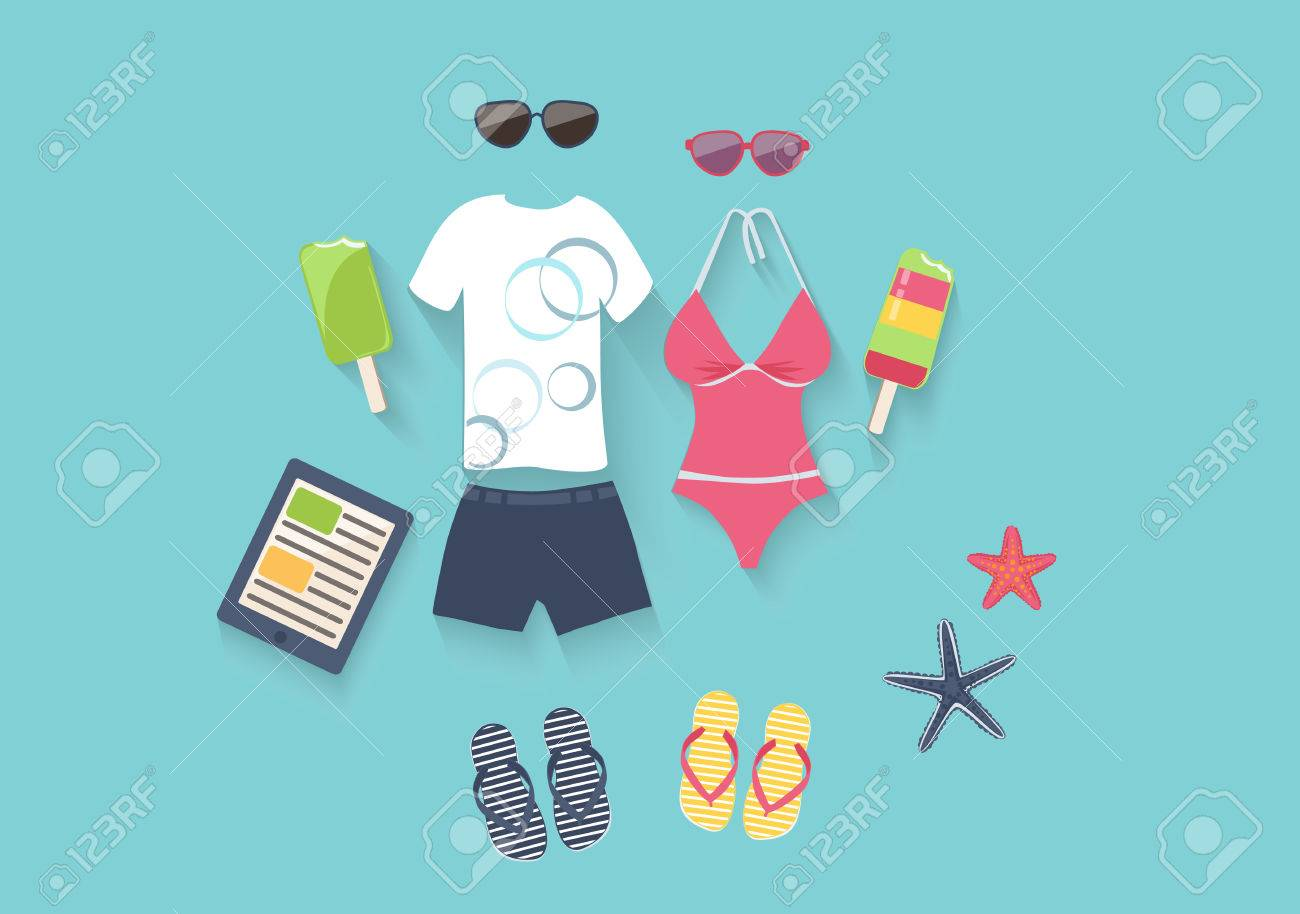 Summer seaside holiday vector illustration with a conceptual arrangement of a female swimsuit, male clothing, sunglasses, slip slops, ice cream and starfish on a blue background depicting the sea Stock Vector - 48104903