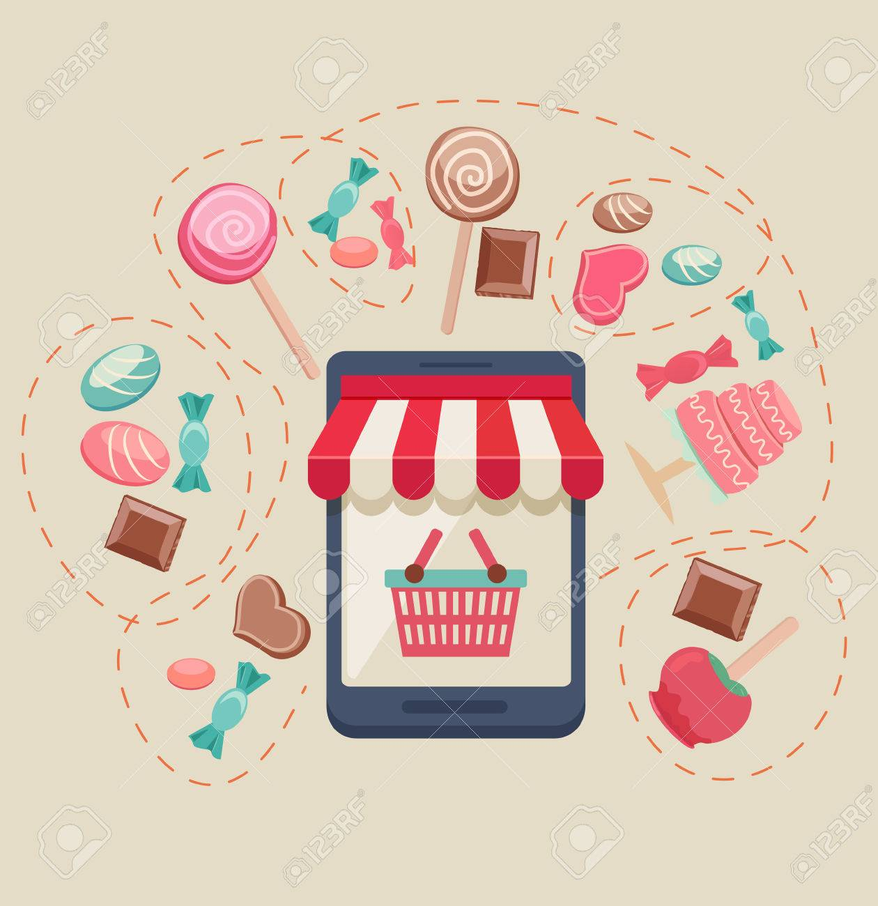 Sweet shop online store with a storefront icon with canopy, bags and buy button surrounded by assorted candy, chocolate, lollipops, toffee apple and a cake, vector illustration Stock Vector - 48104930