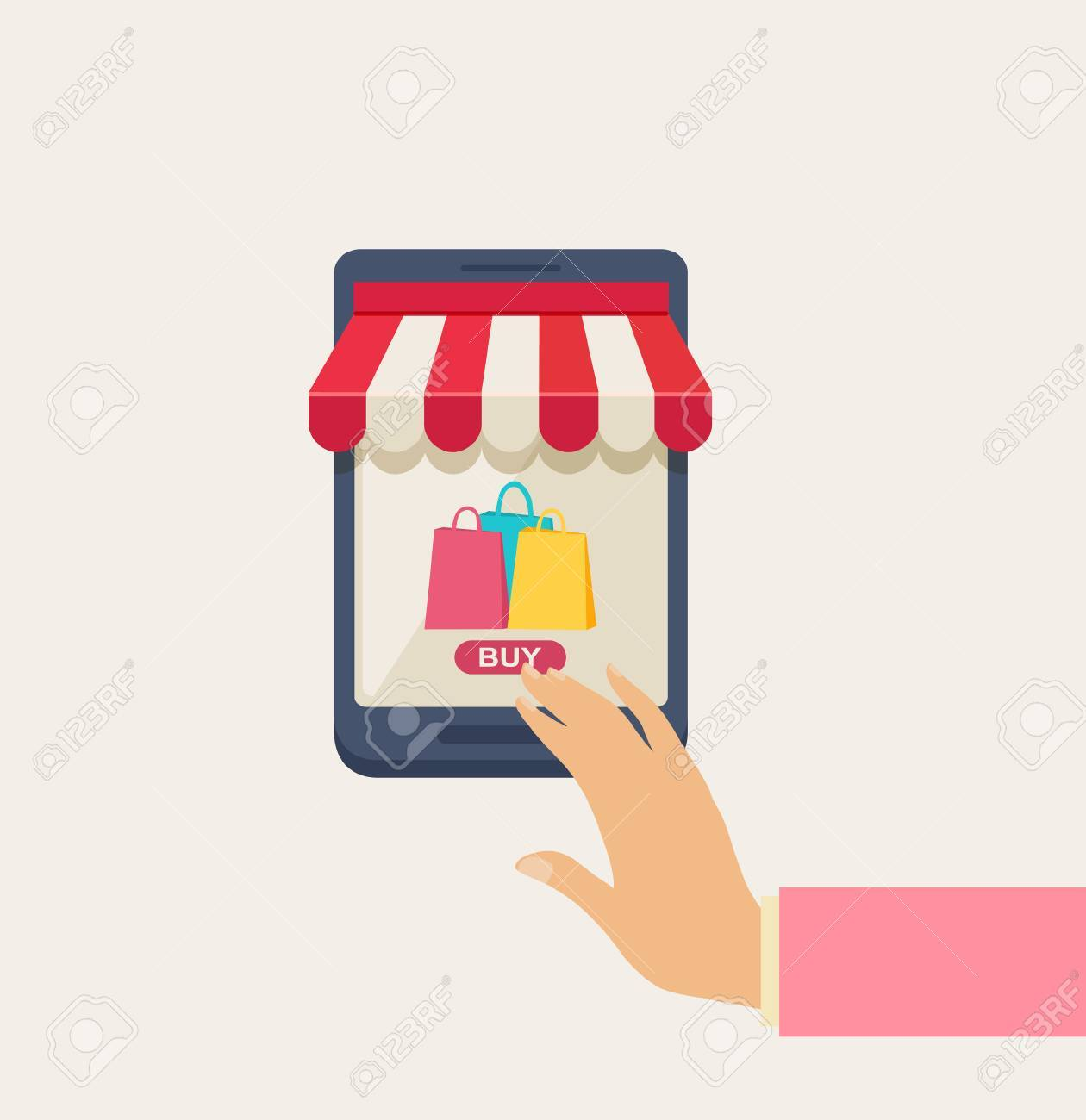 Cartooned Online Shopping Concept with Human Hand Touching the Screen of a Mobile Phone, Emphasizing of Buying Something, on a Very Light Brown Background. Stock Vector - 48104939