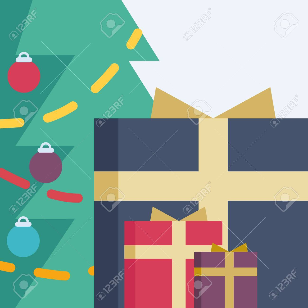 A Christmas tree with different-sized presents near it Stock Vector - 48104957