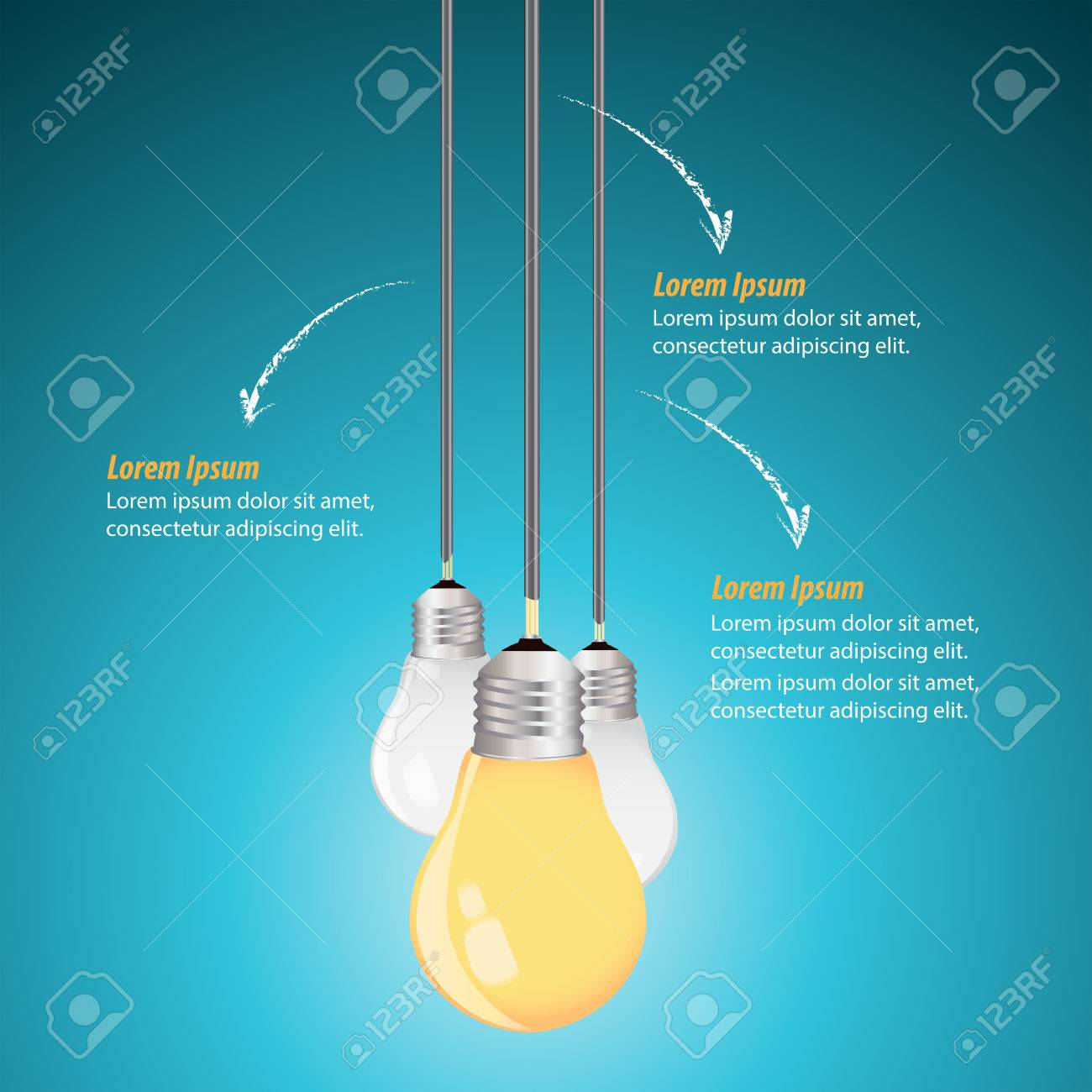 Creative Template with light bulb idea on a blue background Stock Vector - 48105043