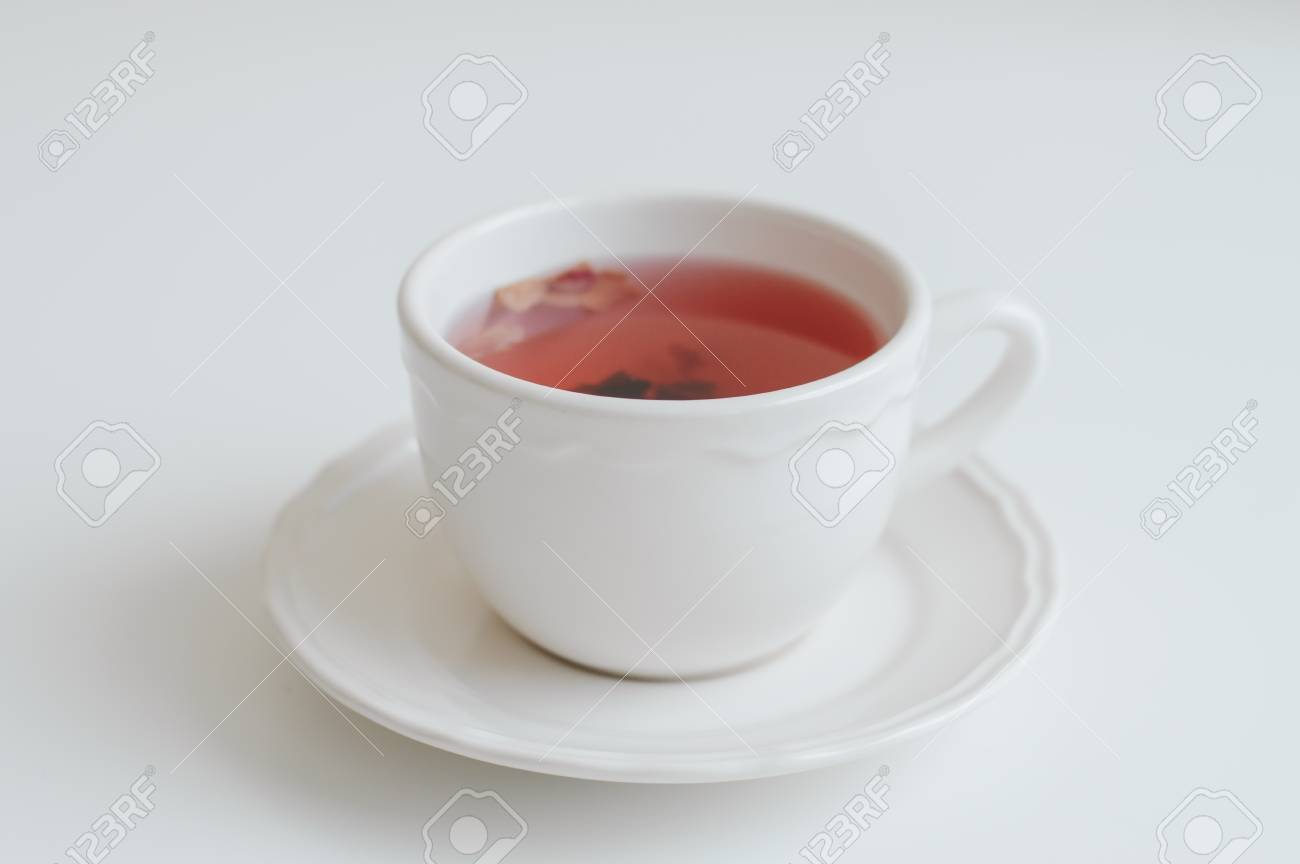 White Cup With Red Herbal Tea Hibiscus Tea Healthy Hot Drink Stock