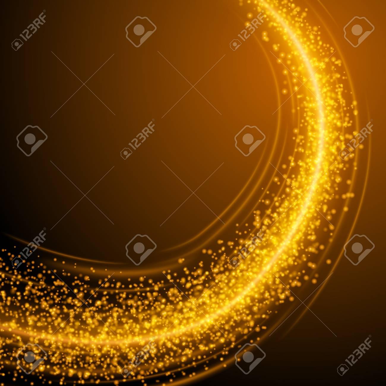 抽象的な黄金光ボケ背景ベクトル イラスト。魔法多重ゴールドラメが輝き