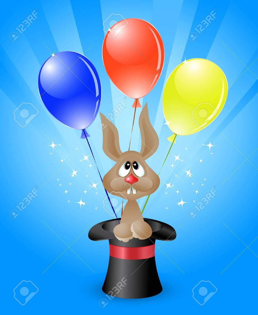 Vector illustration of amusing  rabbit in a magicians top hat and bright colored balloons Stock Vector - 8003340