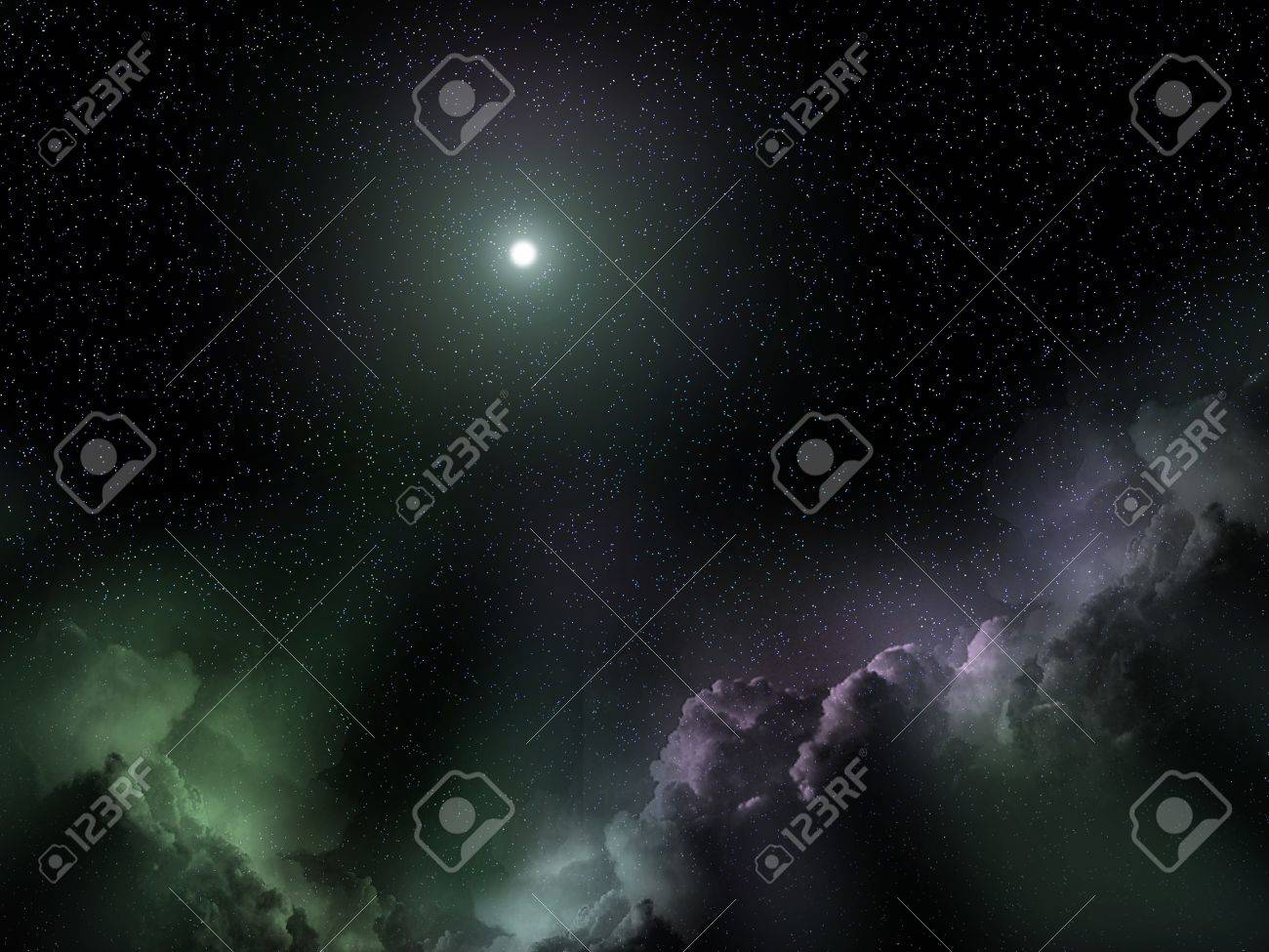 Space chrismas landscape with a Bethlehem star and galaxy clouds Stock Photo - 9164975
