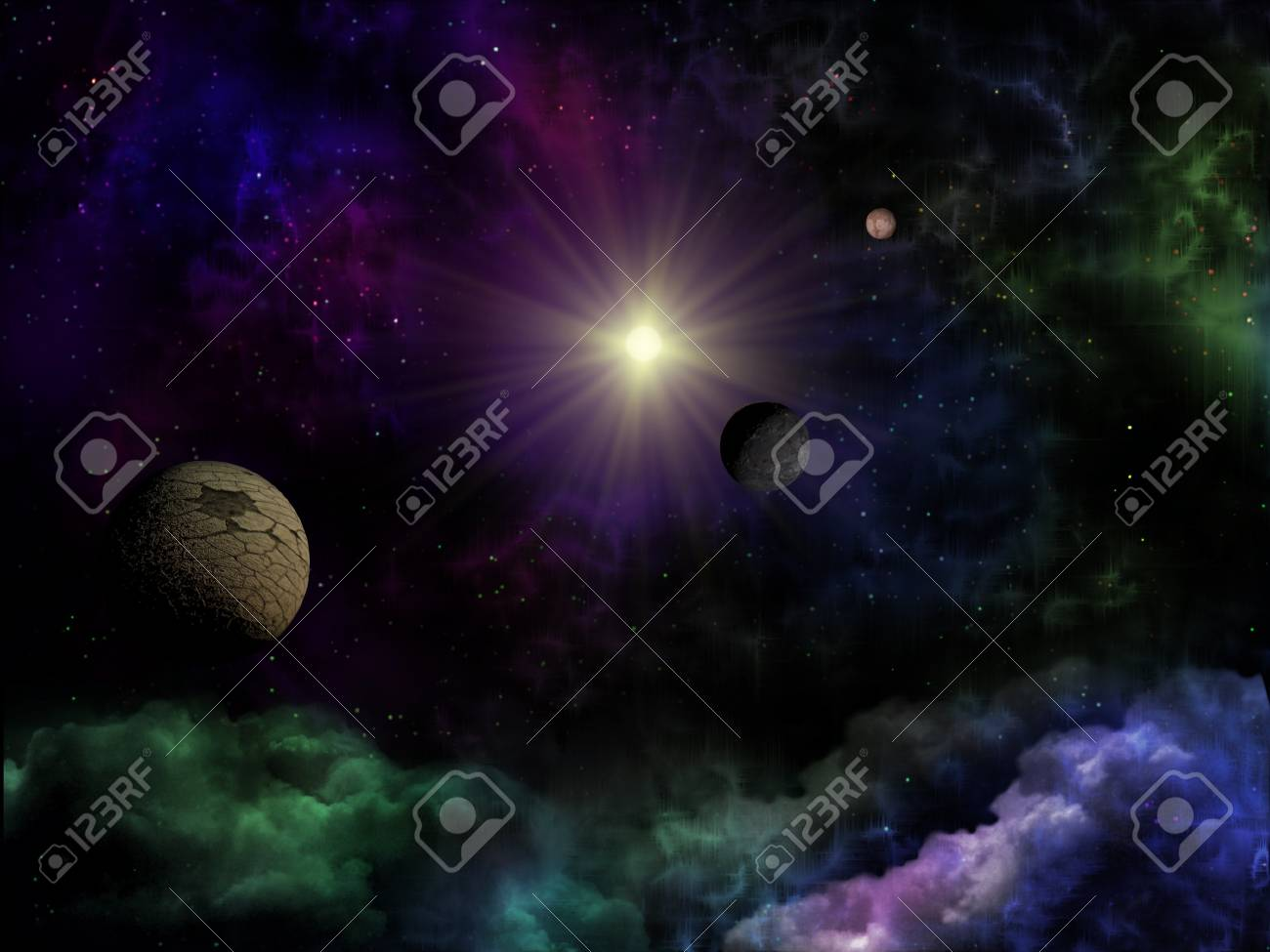 Space fantasy of planet, star and clouds Stock Photo - 10554987