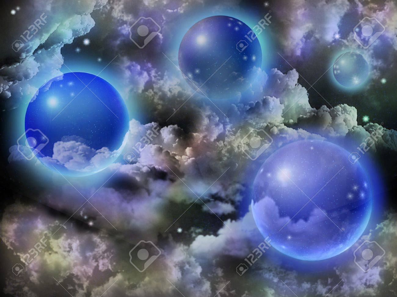 Space fantasy of spheres, stars and clouds Stock Photo - 11663608