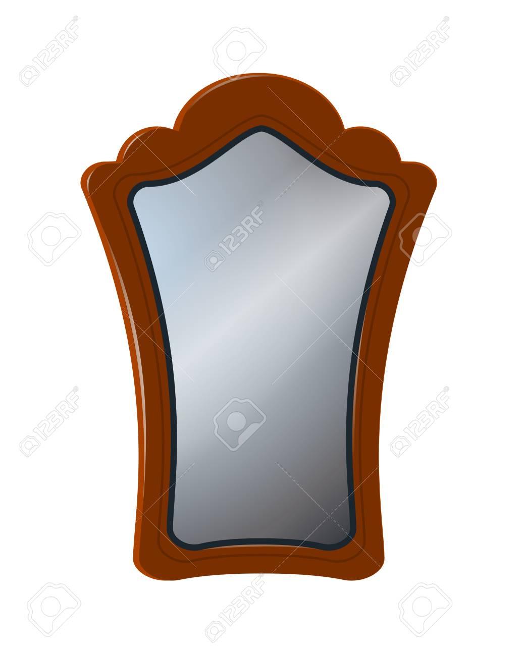 Espejo Antiguo En Marco De Madera Tallada. Aislado En Blanco ...