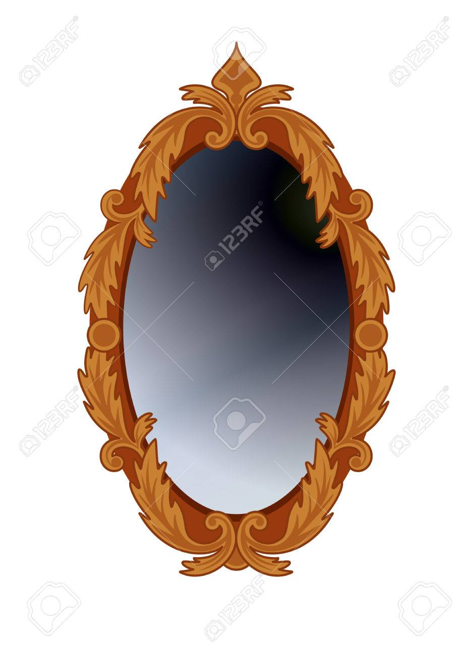 Antique Oval Mirror In Carved Wooden Frame Isolated On White