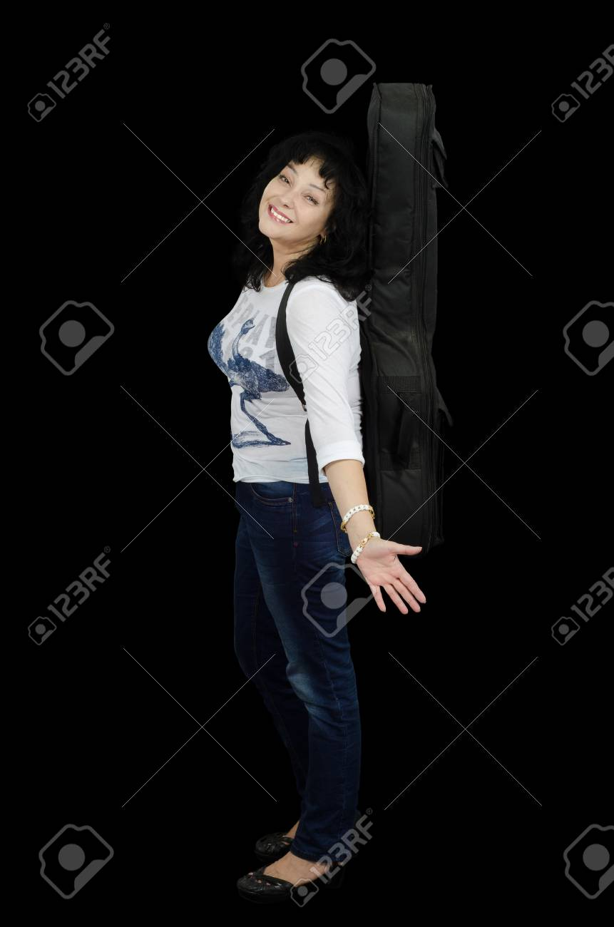Smiling middle-aged guitarist in jeans Stock Photo - 24731203