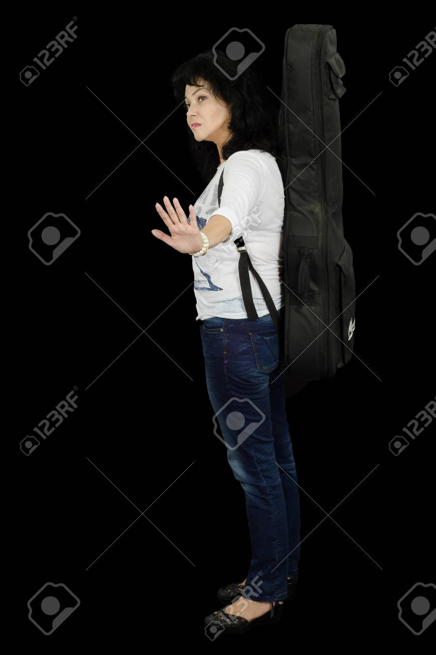 Woman guitarist shows do not touch her Stock Photo - 24731202