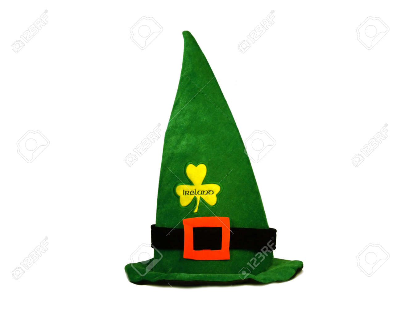 Leprechaun green velour hat with orange clasp for St. Patrick's Day isolated on white Stock Photo - 809499