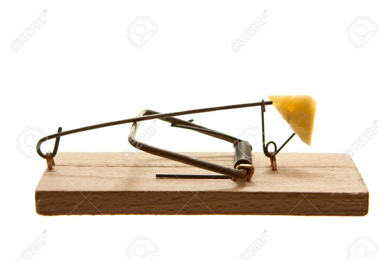 Mouse trap with cheese isolated on white background Stock Photo - 13658421