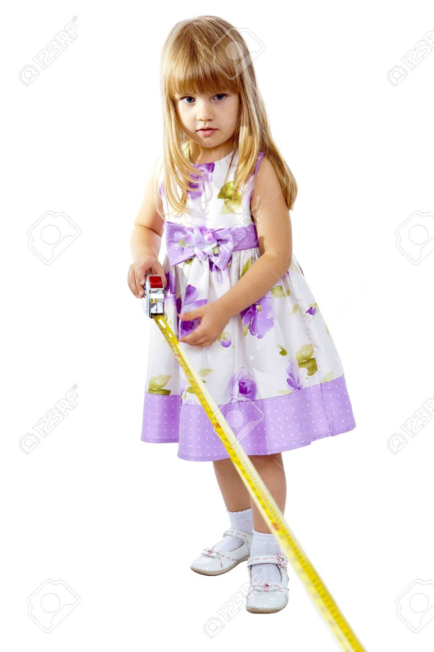 Little girl with measuring tape isolated on white background Stock Photo - 15622528