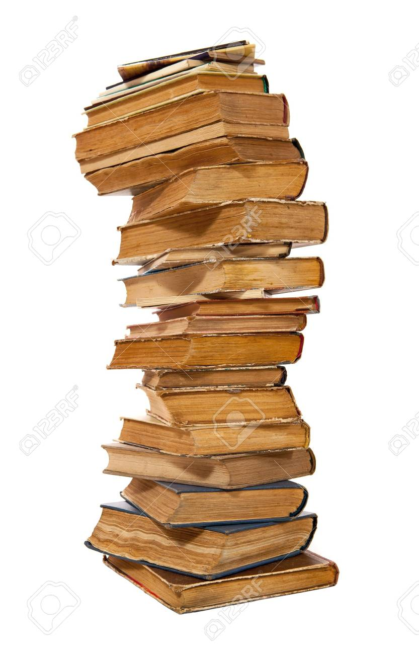 Stack of old hardcover books isolated on white Stock Photo - 17043230