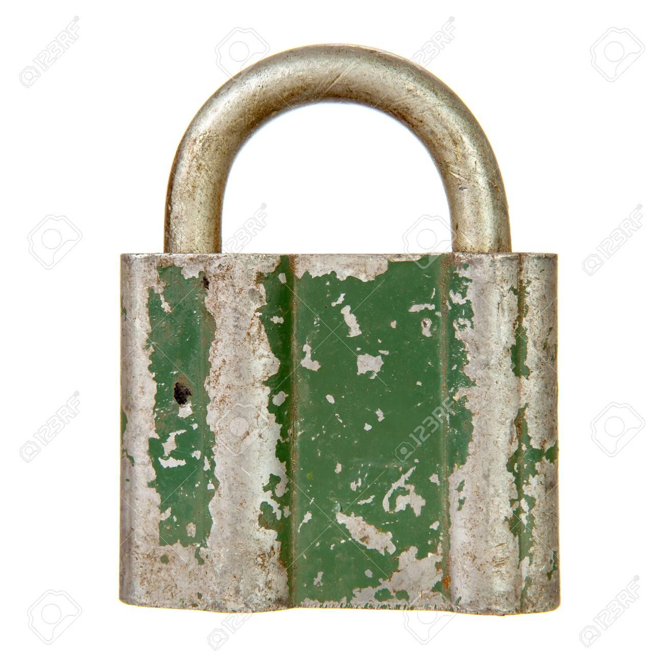 Old padlock isolated over white background Stock Photo - 20413153