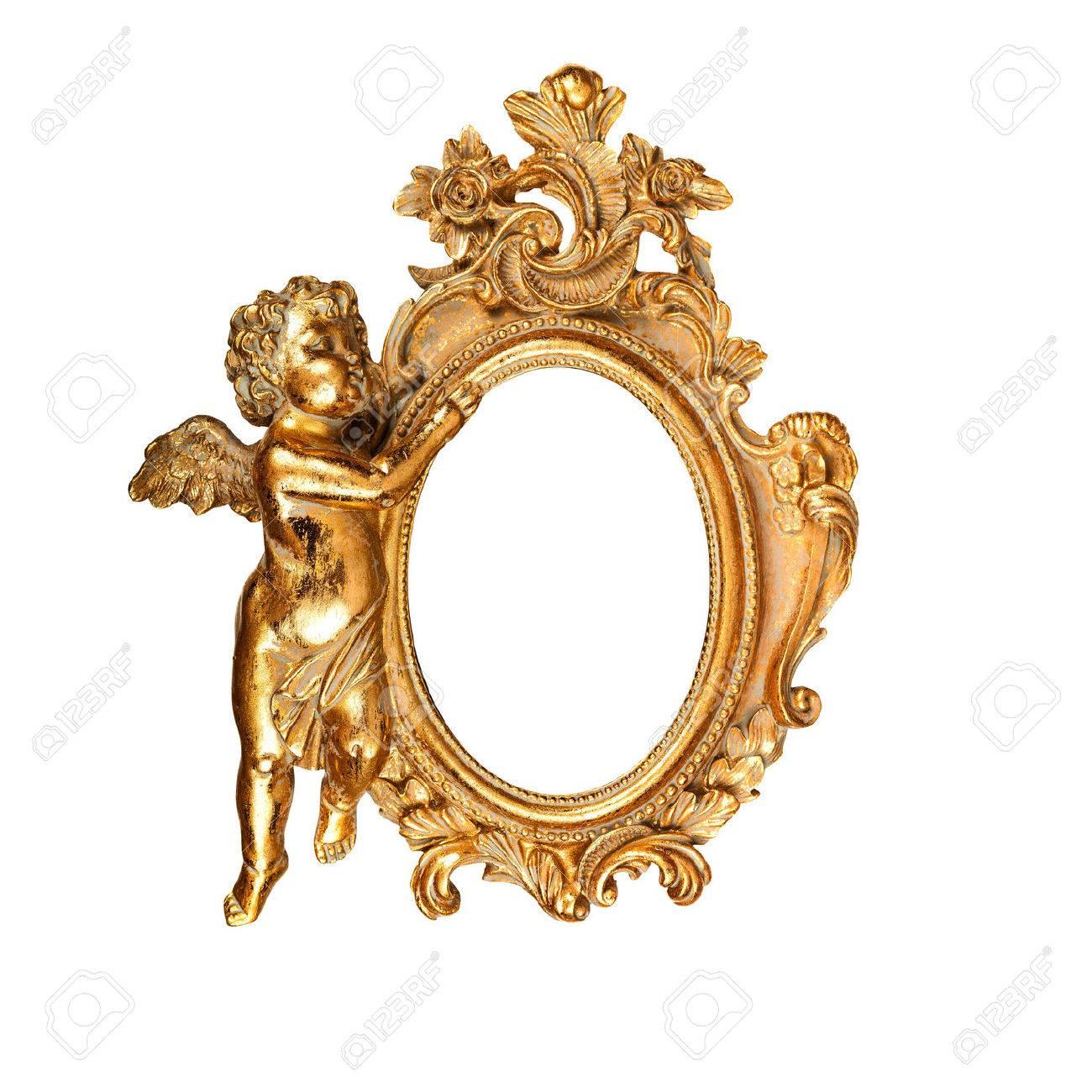 Marco Oval Oro De La Vendimia Con El ángel Fotos, Retratos, Imágenes ...