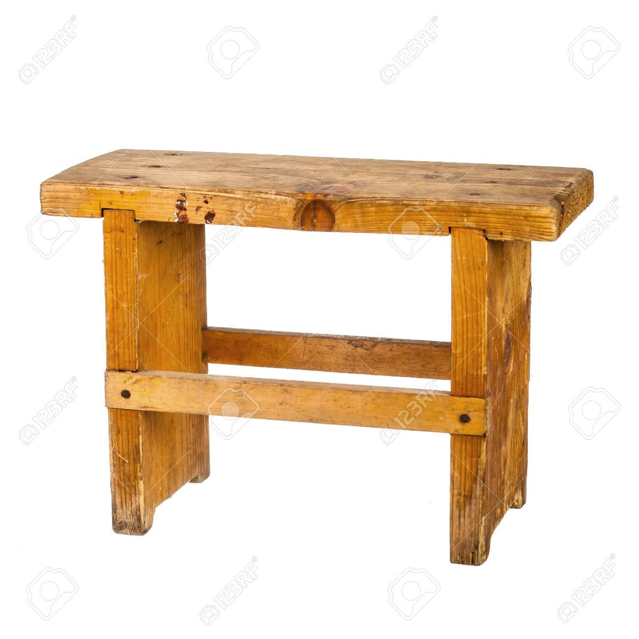 Pleasant Small Wooden Bench Isolated On White Short Links Chair Design For Home Short Linksinfo