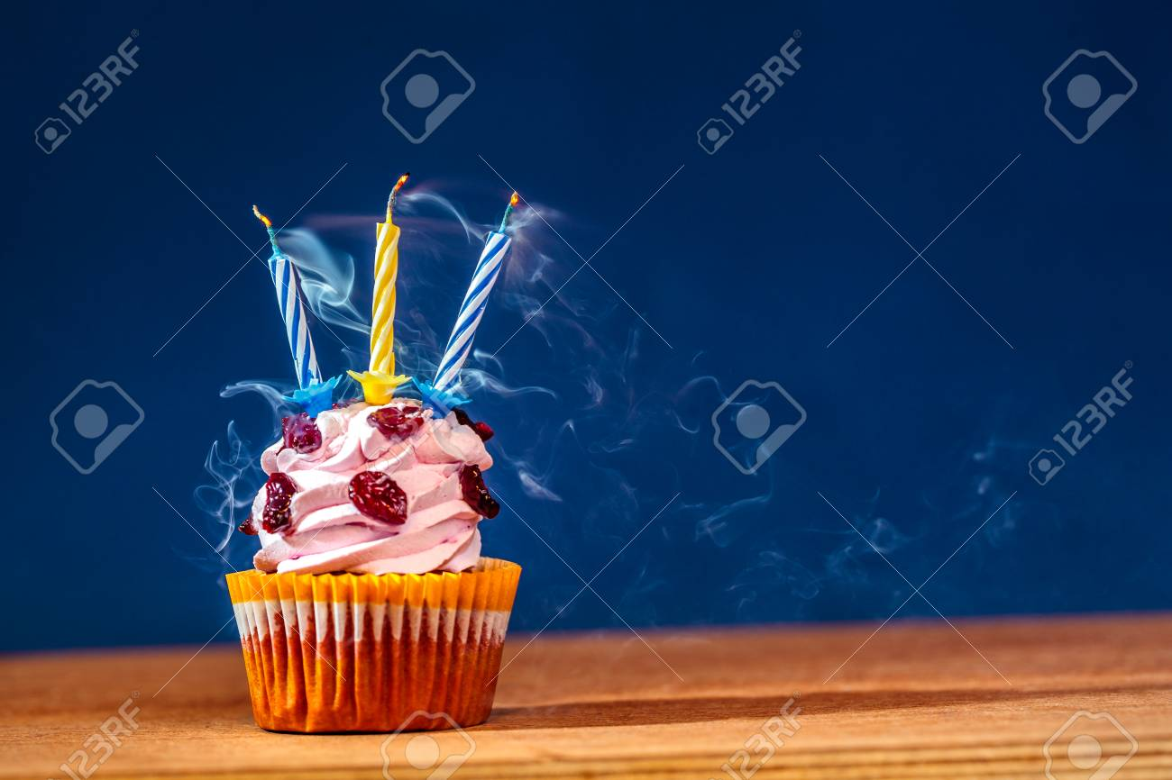 Miraculous Birthday Cake With Three Blown Up Candles In Smoke Over Blue Funny Birthday Cards Online Unhofree Goldxyz