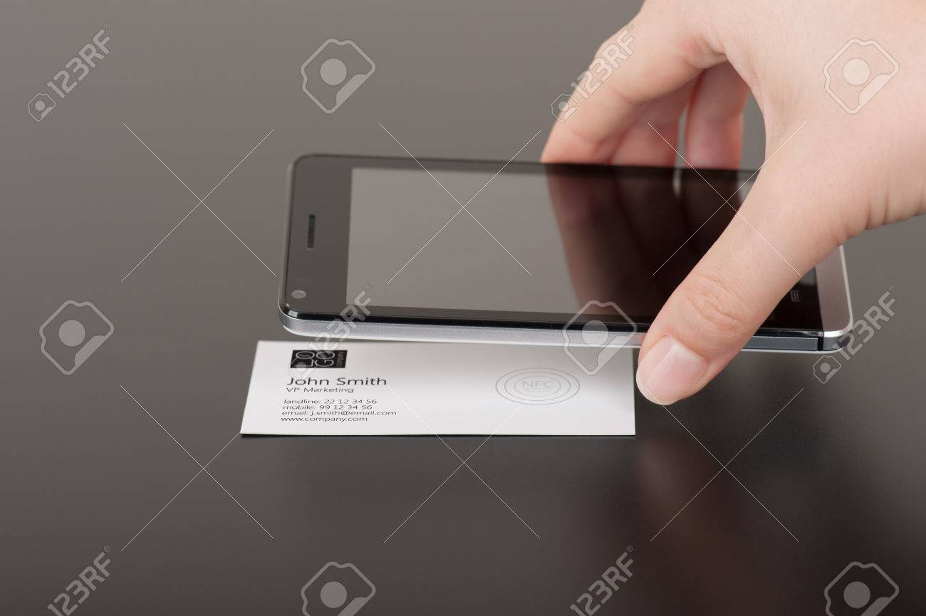 Business Card With Embedded NFC Tag And Phone Stock Photo, Picture ...