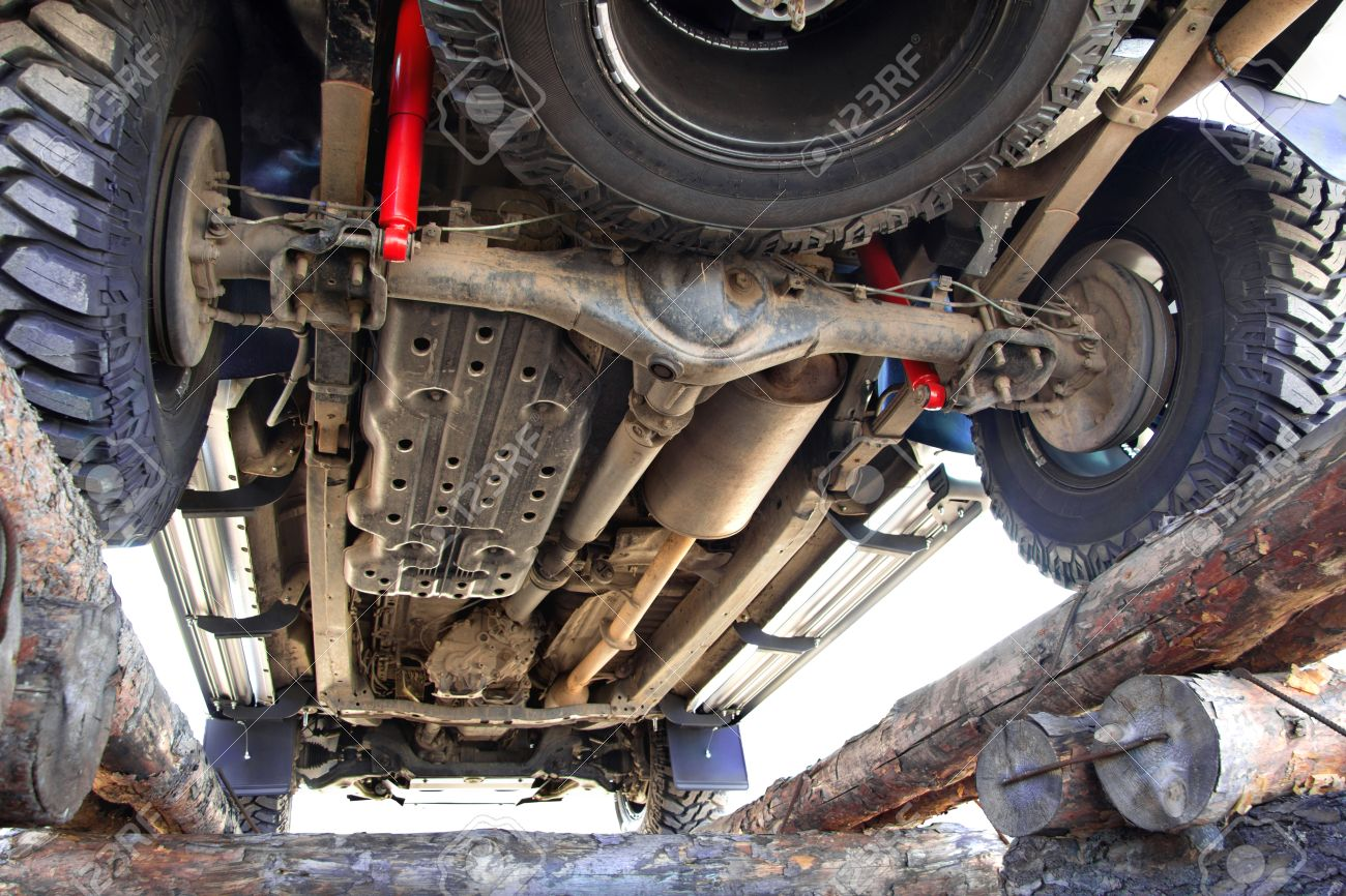 the bottom of the jeep car bottom off road vehicle car repair